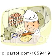 Royalty Free Vector Clip Art Illustration Of A Baker Using A Rolling Pin