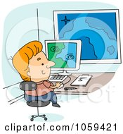 Royalty Free Vector Clip Art Illustration Of A Meteorologist Viewing Weather Data