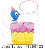 Royalty Free Vector Clip Art Illustration Of A Blue Bird With A Speech Balloon On A Birthday Cake by BNP Design Studio