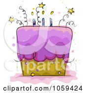 Royalty Free Vector Clip Art Illustration Of A Starry Birthday Cake