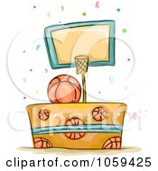 Royalty Free Vector Clip Art Illustration Of A Basketball Birthday Cake by BNP Design Studio
