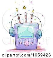 Royalty Free Vector Clip Art Illustration Of A Music Player Birthday Cake by BNP Design Studio