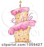 Royalty Free Vector Clip Art Illustration Of A Sweet 16 Birthday Cake