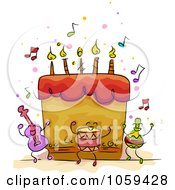 Royalty Free Vector Clip Art Illustration Of A Musical Birthday Cake