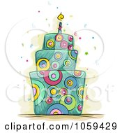 Royalty Free Vector Clip Art Illustration Of A Psychedelic Birthday Cake