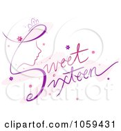 Royalty Free Vector Clip Art Illustration Of Sweet Sixteen Text With A Girls Face