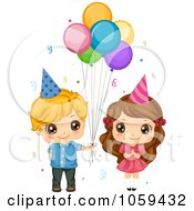 Royalty Free Vector Clip Art Illustration Of A Cute Birthday Boy Giving Balloons To A Girl