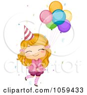 Royalty Free Vector Clip Art Illustration Of A Cute Birthday Girl Holding Onto Balloons