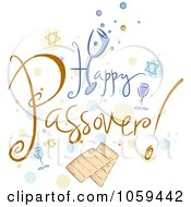 Royalty Free Vector Clip Art Illustration Of Happy Passover Text With Matzah And Dots by BNP Design Studio
