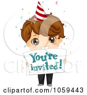 Royalty Free Vector Clip Art Illustration Of A Cute Birthday Boy Holding A Youre Invited Sign