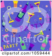 Royalty Free Vector Clip Art Illustration Of A Seamless Blue Cocktail Party Background
