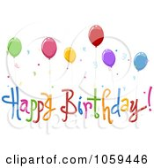 Royalty Free Vector Clip Art Illustration Of Happy Birthday Text With Party Balloons