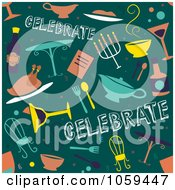 Royalty Free Vector Clip Art Illustration Of A Seamless Green Dinner Party Background