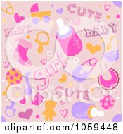 Seamless Pink Baby Girl Background