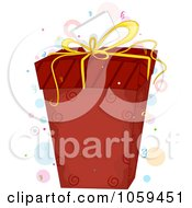 Royalty Free Vector Clip Art Illustration Of A Red Gift Box And Tag With Confetti And Dots by BNP Design Studio