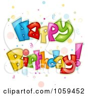 Royalty Free Vector Clip Art Illustration Of Colorful Happy Birthday Text With Confetti