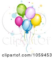 Royalty Free Vector Clip Art Illustration Of Colorful Party Balloons Floating With Confetti And Dots