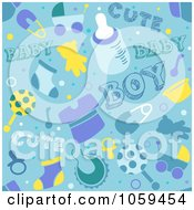 Royalty Free Vector Clip Art Illustration Of A Seamless Blue Baby Boy Background by BNP Design Studio