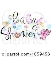Royalty Free Vector Clip Art Illustration Of Baby Shower Text With Items And Dots by BNP Design Studio