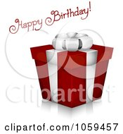 Royalty Free Vector Clip Art Illustration Of Sketched Happy Birthday Text With A 3d Gift Box by BNP Design Studio