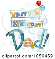 Royalty Free Vector Clip Art Illustration Of Happy Birthday Dad Text With Balloons by BNP Design Studio
