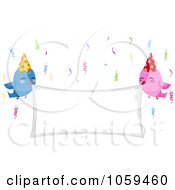 Royalty Free Vector Clip Art Illustration Of Birthday Birds Holding A Blank Banner