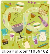 Royalty Free Vector Clip Art Illustration Of A Seamless Green BBQ Party Background