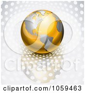 Royalty Free Vector Clip Art Illustration Of A 3d Gold And Silver Globe On Silver With Dots by Oligo