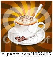Royalty Free Vector Clip Art Illustration Of A 3d Cappuccino With Coffee Beans Over Brown Rays by Oligo