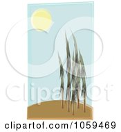 Royalty Free Vector Clip Art Illustration Of Brush Stroke Styled Trees On A Hill In The Sun