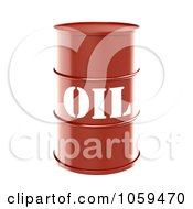 Poster, Art Print Of 3d Red Barrel Of Gasoline With Oil On The Front - 1