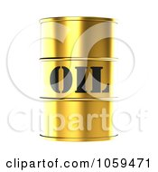 Royalty Free CGI Clip Art Illustration Of A 3d Gold Barrel Of Gasoline With Oil On The Front 2 by ShazamImages