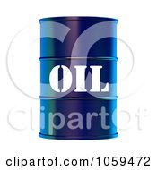 Royalty Free CGI Clip Art Illustration Of A 3d Blue Barrel Of Gasoline With Oil On The Front 2 by ShazamImages