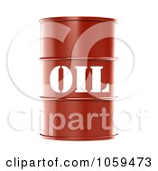 Royalty Free CGI Clip Art Illustration Of A 3d Red Barrel Of Gasoline With Oil On The Front 2 by ShazamImages