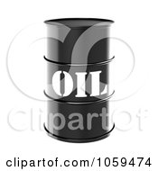 Royalty Free CGI Clip Art Illustration Of A 3d Black Barrel Of Gasoline With Oil On The Front 1 by ShazamImages