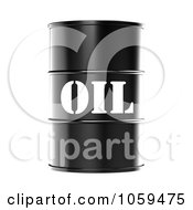 Poster, Art Print Of 3d Black Barrel Of Gasoline With Oil On The Front - 2