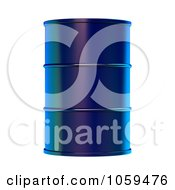 Royalty Free CGI Clip Art Illustration Of A 3d Blue Barrel Of Gasoline by ShazamImages