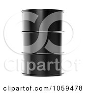Royalty Free CGI Clip Art Illustration Of A 3d Black Barrel Of Gasoline