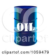 Royalty Free CGI Clip Art Illustration Of A 3d Blue Barrel Of Gasoline With Oil On The Front 1 by ShazamImages