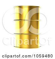 Royalty Free CGI Clip Art Illustration Of A 3d Gold Barrel Of Gasoline