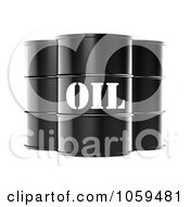 3d Black Barrels Of Gasoline With Oil On The Front