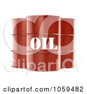 Poster, Art Print Of 3d Red Barrels Of Gasoline With Oil On The Front