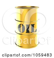 Royalty Free CGI Clip Art Illustration Of A 3d Gold Barrel Of Gasoline With Oil On The Front 1 by ShazamImages