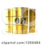 3d Gold Barrels Of Gasoline With Oil On The Front
