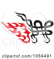 Royalty Free Vector Clip Art Illustration Of A Flaming Tribal Shopping Cart Icon
