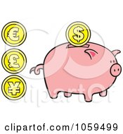 Royalty Free Vector Clip Art Illustration Of A Digital Collage Of Coins And A Piggy Bank by Any Vector