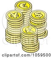 Piles Of Euro Dollar Lira And Yen Coins