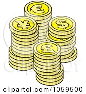 Royalty Free Vector Clip Art Illustration Of Piles Of Euro Dollar Lira And Yen Coins by Any Vector