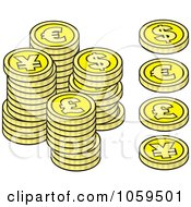 Royalty Free Vector Clip Art Illustration Of A Digital Collage Of Euro Dollar Lira And Yen Coins by Any Vector