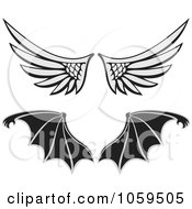 Royalty Free Vector Clip Art Illustration Of A Digital Collage Of Angel And Bat Wings